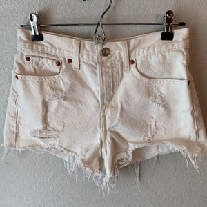 White distressed cut off denim shorts